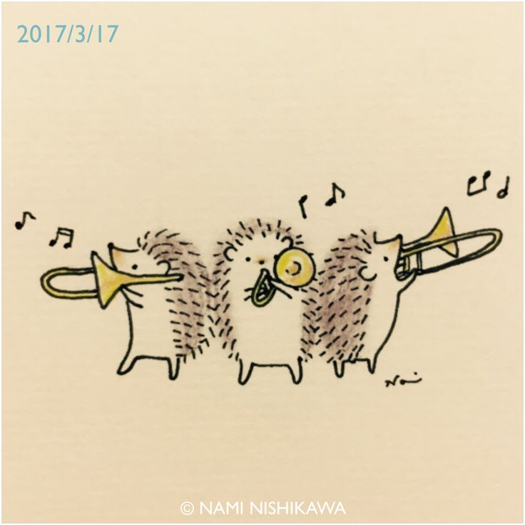 I don't know what this is or where it came from...but I need this picture of hedgehogs playing trombones!!