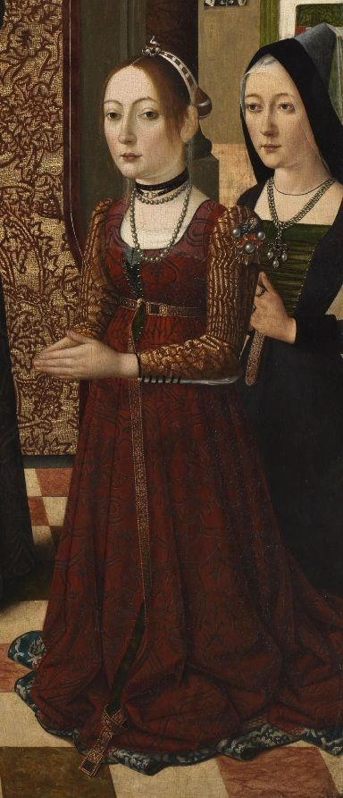 Detail from Saint Catherine of Bologna with Three Donors   by the Master of the Baroncelli Portraits around 1470-1480. Held by the Courtald Gallery, London, UK.
