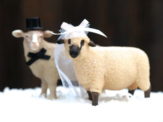 Wedding Cake Topper Sheep, Country Bride and Groom, Animal Lover, Barn, Farm, Top Hat, Veil, Romantic, Unique, Whimsical, Rustic on Etsy, $45.00