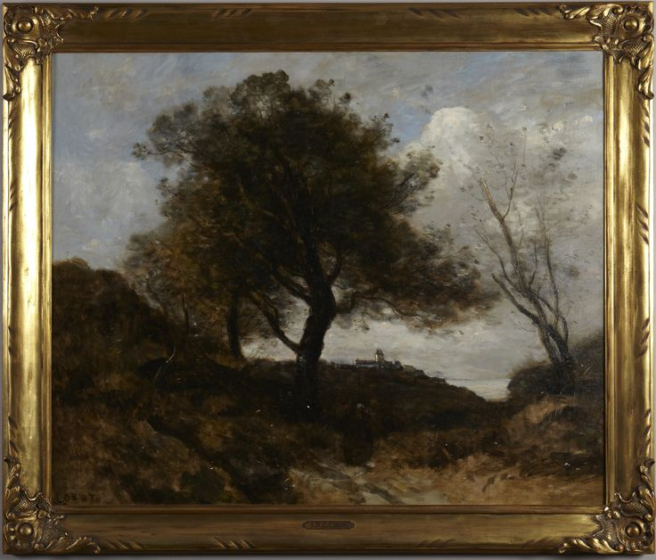 Jean Baptiste Camille Corot (1796-1875), Souvenir of Normandy, ca. 1870 Oil on canvas 69.5 x 85 cm (27 3/8 x 33 7/16 in.) frame: 82.6 × 97.5 × 3.7 cm (32 1/2 × 38 3/8 × 1 7/16 in.)Bequest of Brooks Emeny, Class of 1924 y1980-15 Princeton University Art Museum