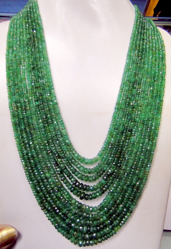 Jewellery. Emerald gemstone strand necklace from Amrapali Amrapali