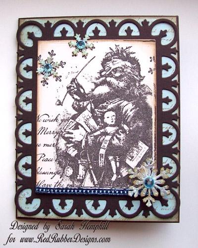 Christmas Gift Card Holder ~*~ Vintage Santa rubber stamp ...