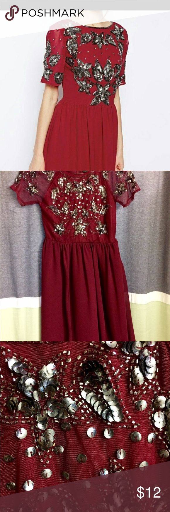 ASOS Sequin Dress Selling excellent condition flowy dress. Size 2 It is maternity  dress but can be worn as a regular dress. Beautiful beading details. Comes from pet snd smoke free home. No beads missing. Dress is knee length depending on height ASOS Dresses Midi