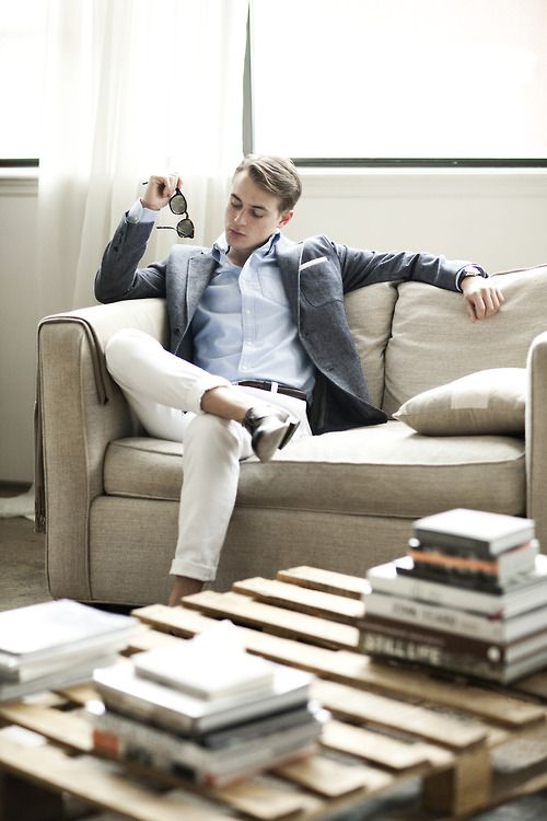 business casual look start with chinos, throw in a linen blazer and tailored shirt - good to go.