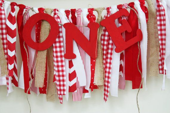 Picnic Highchair Banner, Red Checked Highchair Birthday