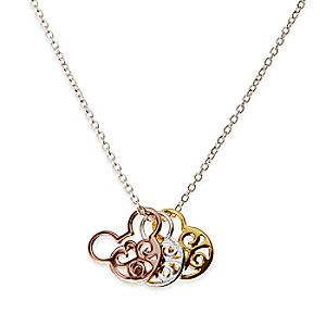 Mickey Mouse Tricolor Icon Necklace by Rebecca Hook | Disney Store Mickey takes gold, silver, and bronze with this winning necklace by designer Rebecca Hook. Three swirling sterling silver Mickey icons have been given different finishes to add Olympian style to this piece of jewelry.
