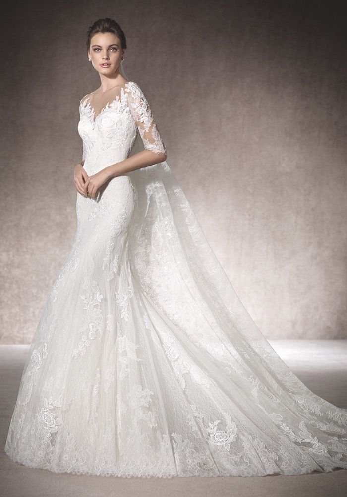 St. Patrick | Mermaid boat neck neckline wedding dress, fitted to the hips…