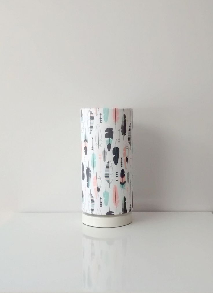Pastel feather arrows, mint and coral, fabric lampshade with optional base, nursery lamp, girls room decor, lighting by MadeInFabric on Etsy https://www.etsy.com/listing/231757648/pastel-feather-arrows-mint-and-coral