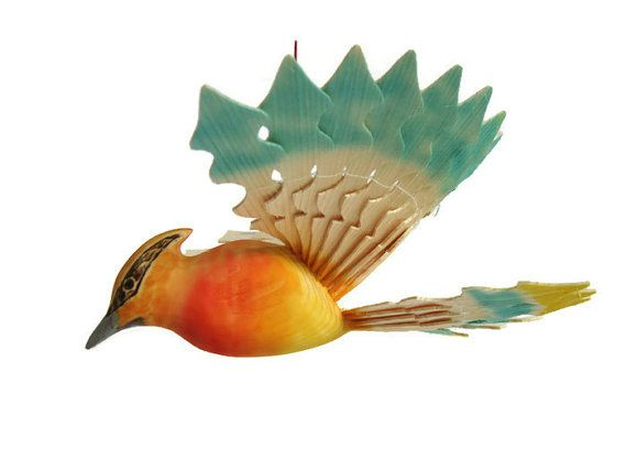 Hand Carved Cedar Waxwing Wooden Fan Bird Woodland by MyFanbirds