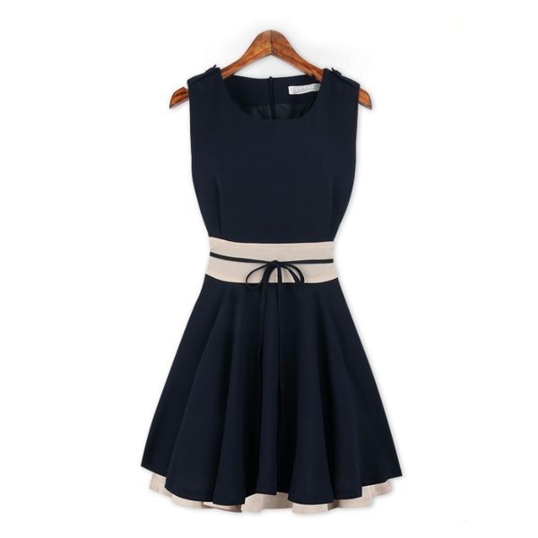 Newly Western Color Block Slimming Belted Tank Pleated Dress