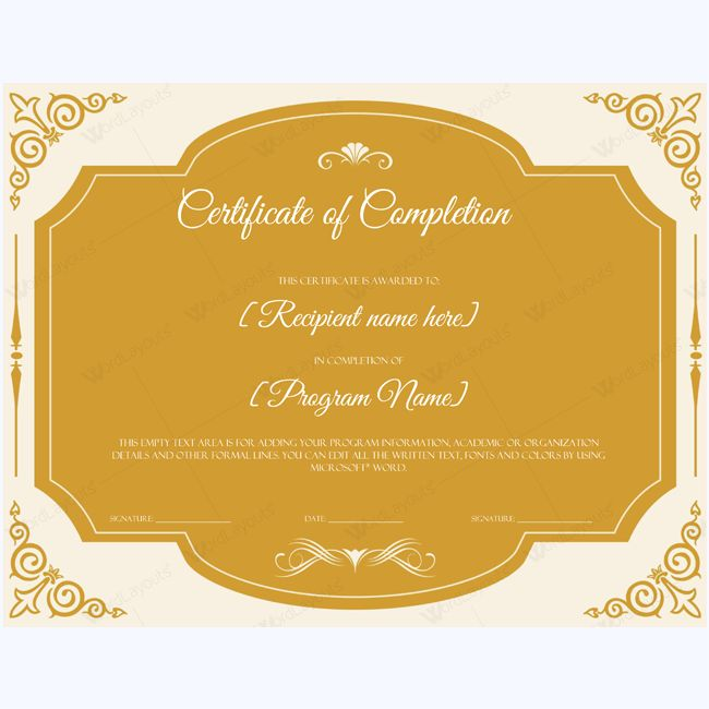 25 best Certificate of Completion Templates images on Pinterest - best of certificate of completion template word