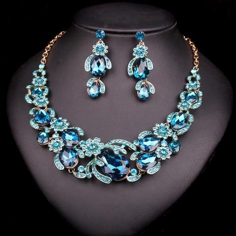 New Bridal Bridesmaid Wedding Party Jewelry Set Crystal Necklace Earrings Blue