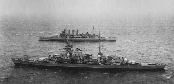 Prinz Eugen escorted by HMS Devonshire in May 1945.