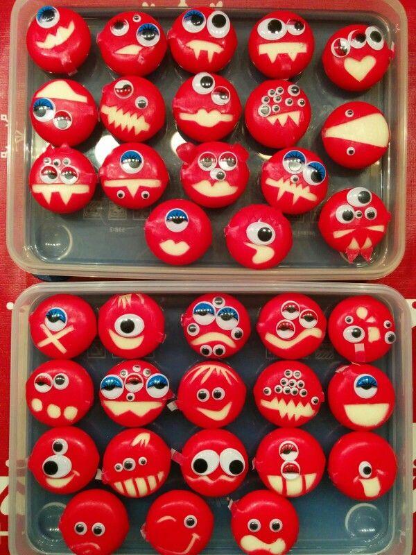 Babybel-Monster  Fingerfood zum Kinderfasching nach dieser Idee  www.danyabanya….