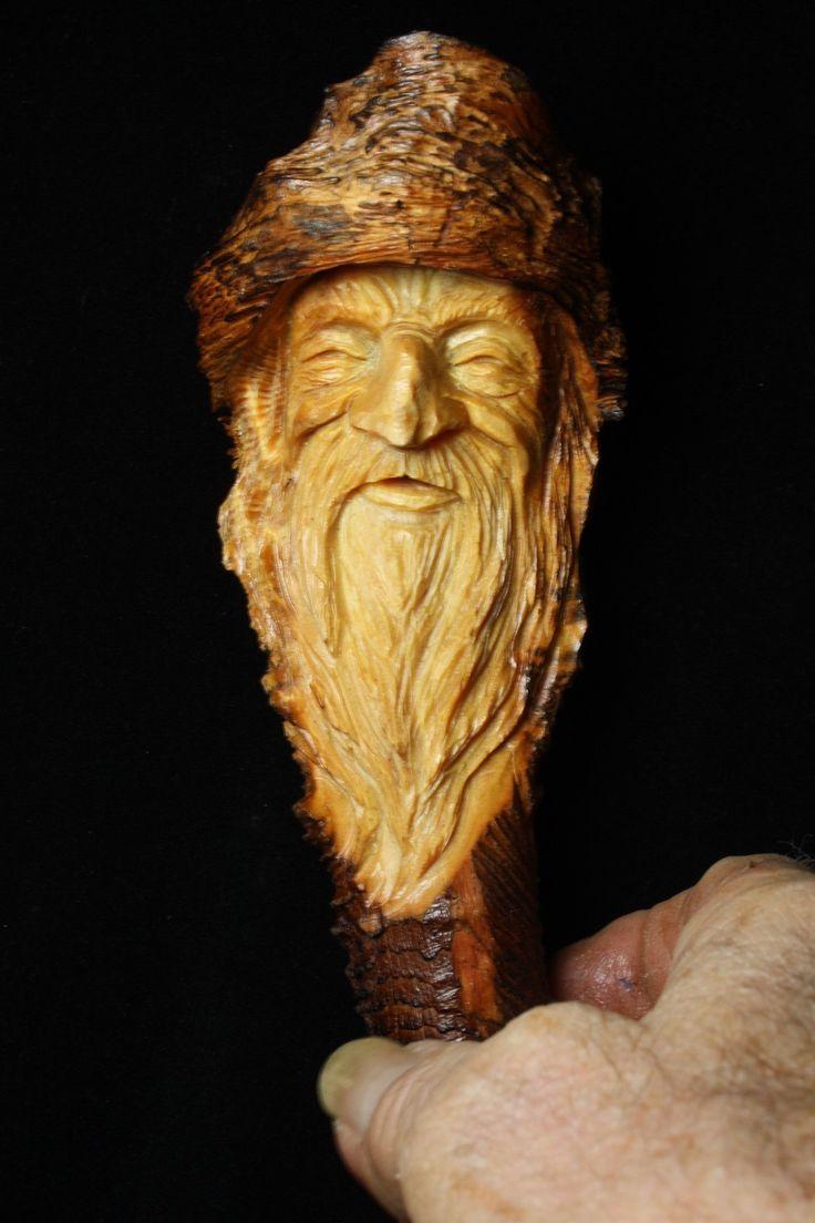 wood spirit walking stick faces