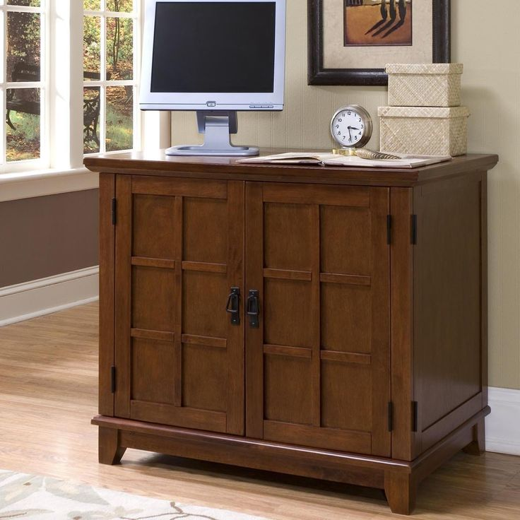 home style arts and crafts compact office cabinet cottage oak finish arts and crafts compact office cabinet made of hardwood solid and engineered wood