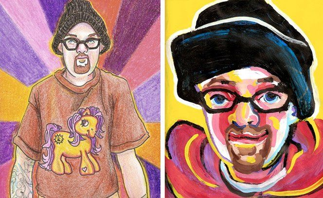 O artista Bryan Lewis Saunders queria testar como diferentes drogas atuam em sua arte. Cada retrato era criado em um dia, sob o efeito de uma droga diferente. Veja o resultado: