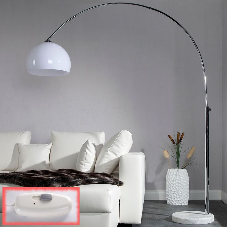 "RIESIGE DESIGNER BOGENLAMPE ""BIG ARC PRO"" Stehlampe dimmbar mit Dimmer weiß de.picclick.com"