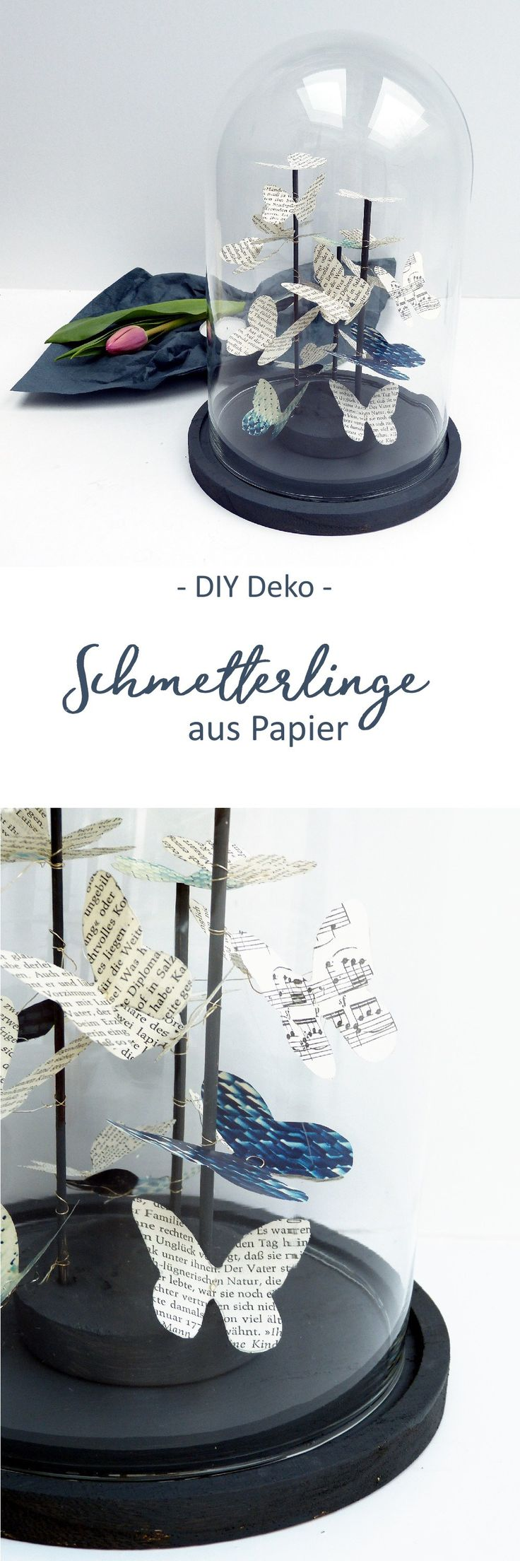 Deko Schmetterlinge aus Papier als Schwarm in einer Glaskuppel. DIY Anleitung mit Vorlage zum Ausdrucken.  #Glasglocke #Frühlingsdeko
