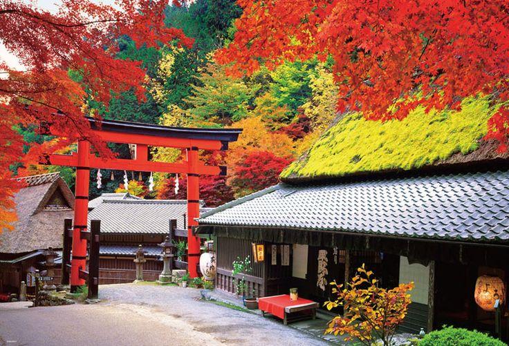 BEV-51-186 日本の風景 秋に染まる京茶屋 1000ピース ジグソーパズル