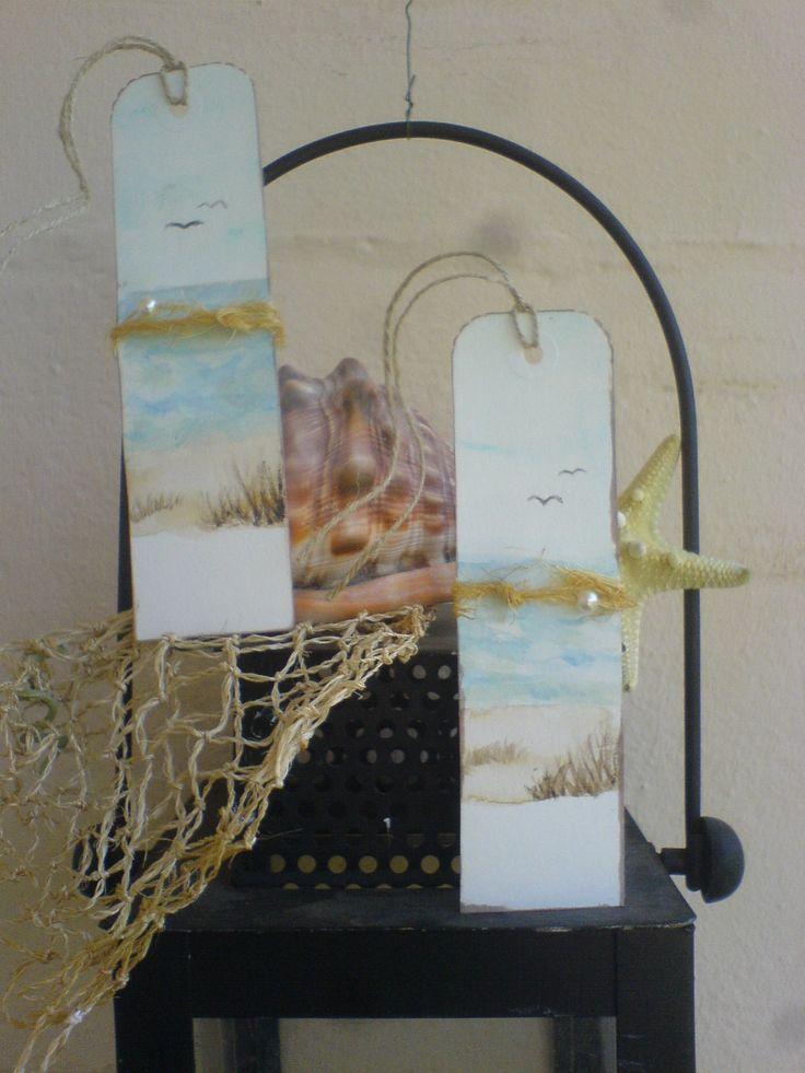 Hand gemalte Watercolor Gift-Tags/Geschenk-Anhänger *Maritim*