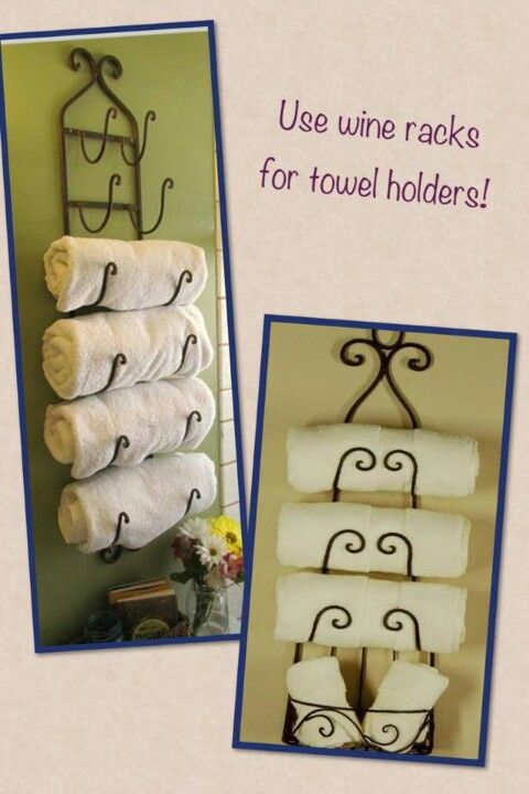 Best Displaying Towels In A Pretty Way Images On Pinterest - Wine rack towel storage for small bathroom ideas