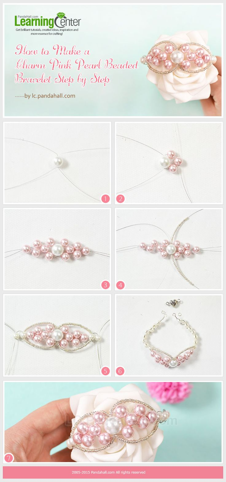 Brazalete con perlas rosa
