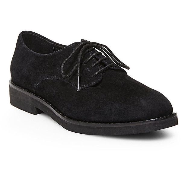 Steve Madden Women's Dominant Oxford Shoes ($50) ❤ liked on Polyvore featuring shoes, oxfords, black suede, wingtip brogues, suede brogues, suede oxfords, lace up oxfords and steve madden oxfords