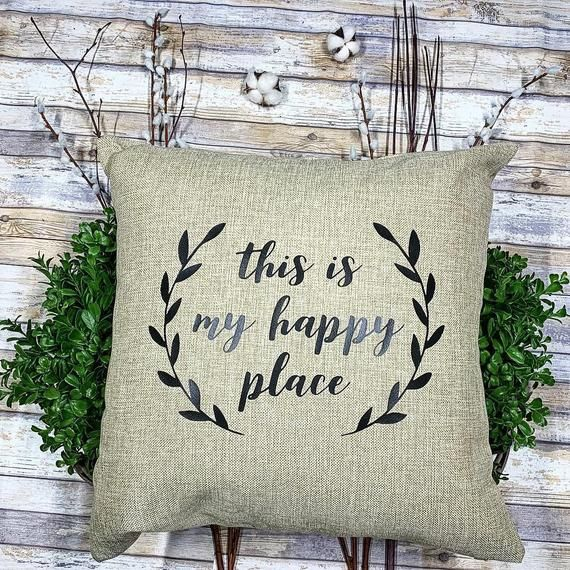 This Is My Happy Place Throw Pillow Throw Pillows Burlap Throw Pillows Pillows