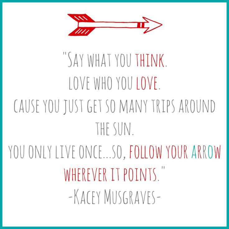 """""""Follow Your Arrow"""" Love the Kacey Musgraves cd! She's an amazing songwriter"""