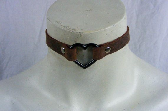 Choker Genuine Leather  Brown Heart Choker with by StarCreationsCa
