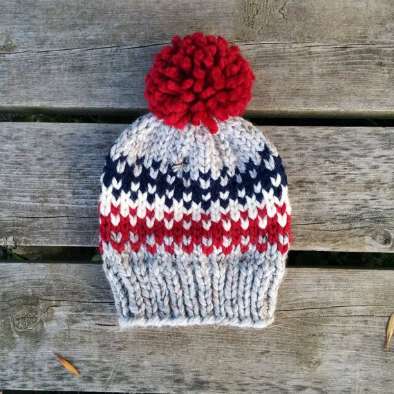 WINTER SALE 25% OFF Chunky Fair Isle Knit Hat by LakesideStitchCo