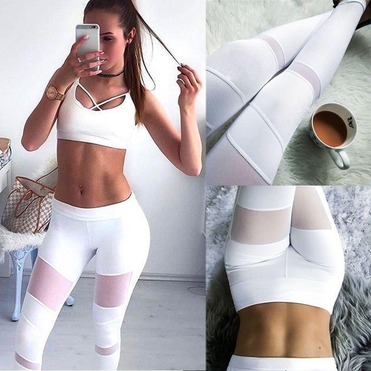 Womens Sports Gym Yoga Workout High Waist Running Pants Elastic Fitness Leggings