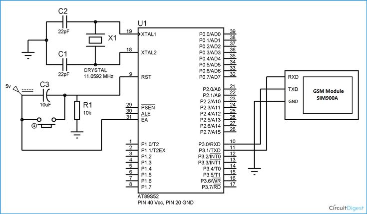 Circuit Diagram for GSM Interfacing with 8051