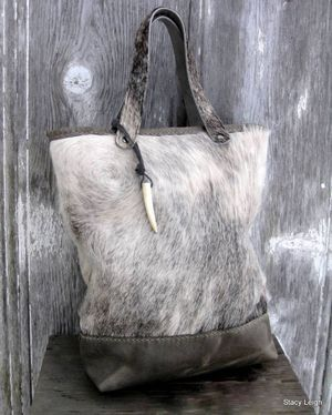 Hair On Cowhide and Distressed Leather Tote Bag in Grey Roan Hide