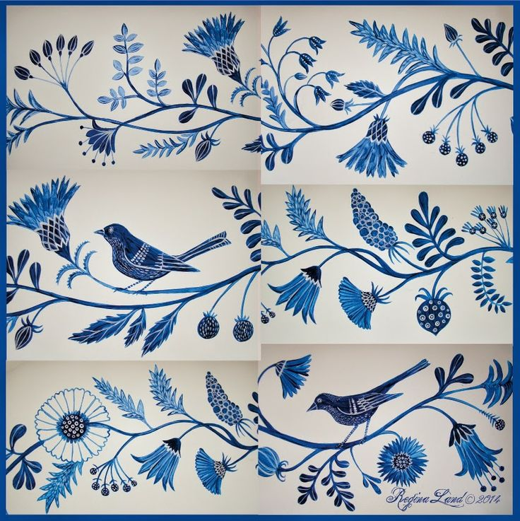 blue birds and flowers on the wall .....