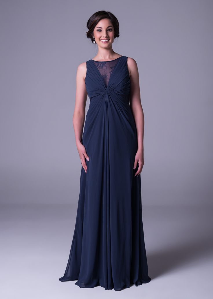 Ditch classic black for this #sophisticated and flattering #navy #blue dress, from Bride&co's #new collection. Click to book a free fitting online or view more.  #eveningdresses #bluedresses #navydresses #dresses
