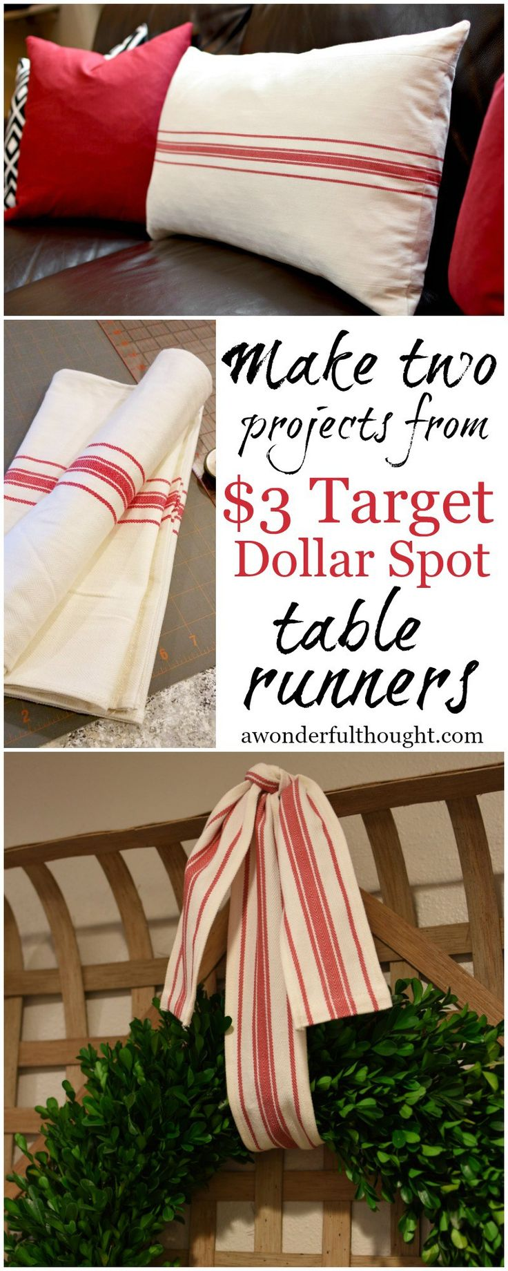 A Wonderful Thought | Make two projects from $3 Target dollar spot table runners | awonderfulthought.com