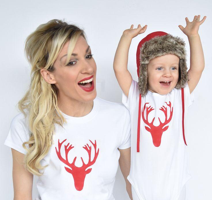 T-shirt Set Mama und Baby / Kind mit Hirsch
