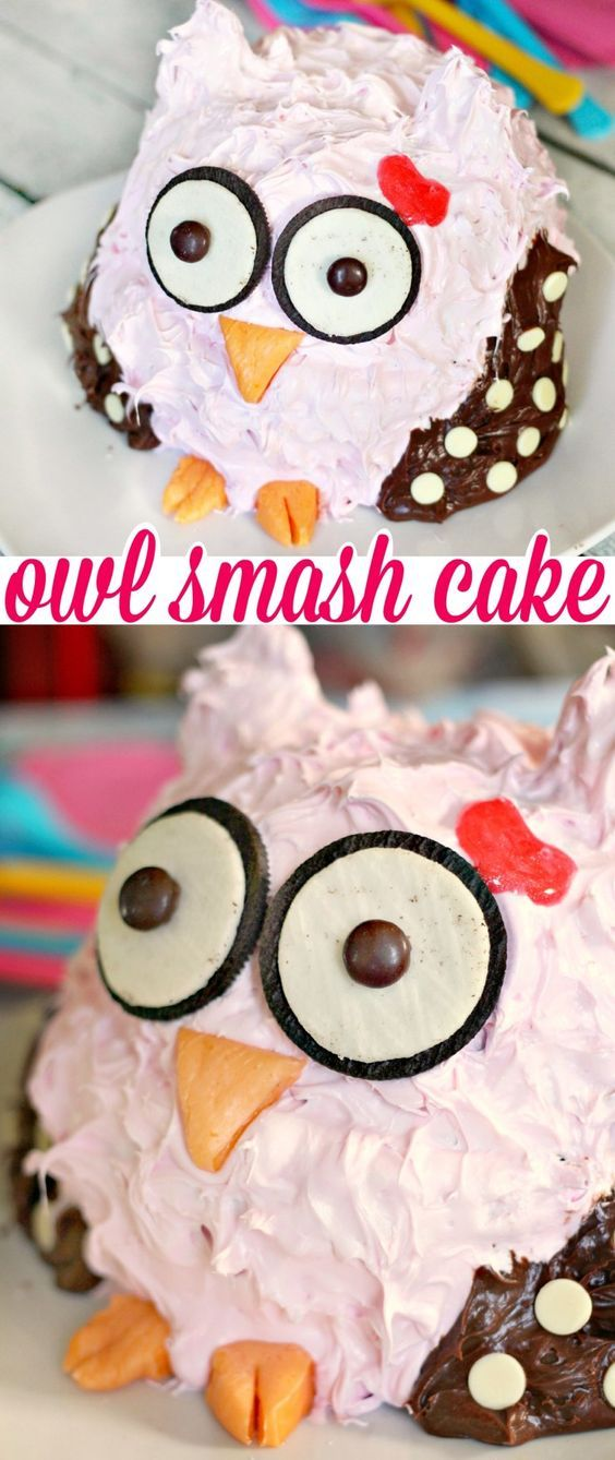 This Owl Smash Cake is an adorable first birthday cake perfect for an owl themed 1st birthday party or a cake smash photography session!