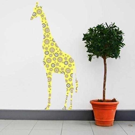 playroom: Giraffes Wall, Large Giraffes, Flowers Patterns, Vinyls Wall Decals, Patterns Wall, Flower Patterns, Rooms, Vintage Flowers, Wall Ideas