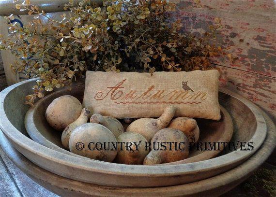 Primitive Autumn Colors Pillow Tuck Cross Stitch door countryrustic