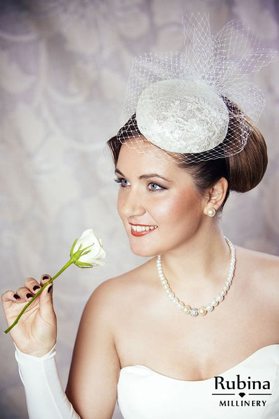c4142cae1e7f3 Cream Bridal Pillbox Hat Fascinator with Birdcage veil and Beaded Lace by  RUBINA Millinery #bridal #w…   Bridal Fascinators and Hats - Rubina  Millinery in ...