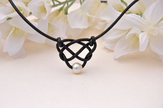 Pearl and Leather Celtic Heart Knot Necklace with PEARL BUTTON Clasp- NONMETAL Jewelry Piece - Pearl and Leather Jewelry Collection via Etsy
