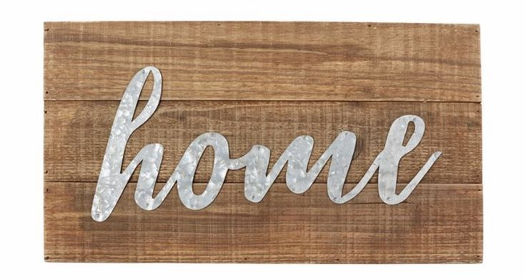 "Description: Planked distressed wood plaque features metal ""home"" sentiment and arrives with saw tooth hardware for hanging. Dimensions: 10"" x 18"""