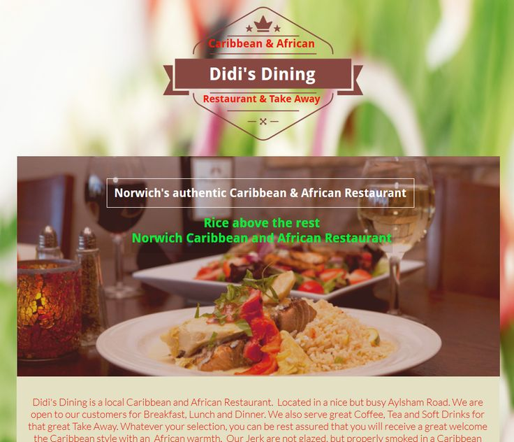 Didi's Dining: Didi's Dining was established to provide excellent Caribbean and African food at an affordable price , in a cosy and family friendly environment without compromising on quality. Located at Aylsham Road in Norwich, Didi's dining has quickly developed a reputation for quality food cooked in a variety of tasty spice for people who know quality food and want the same. Didi's dining also do outside and Contract Catering through its outside Catering arm, YUMMY DELIGHT CATERING…