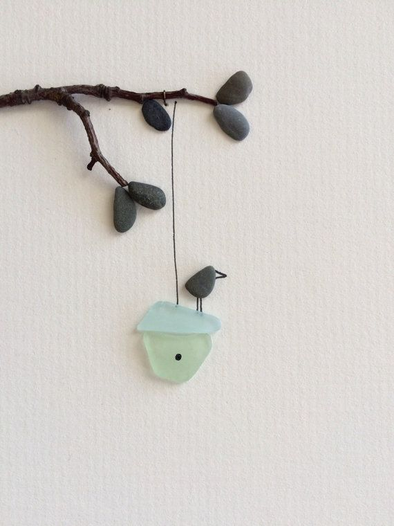 Little sea glass bird house with pebble birds pebble art by sharon nowlan