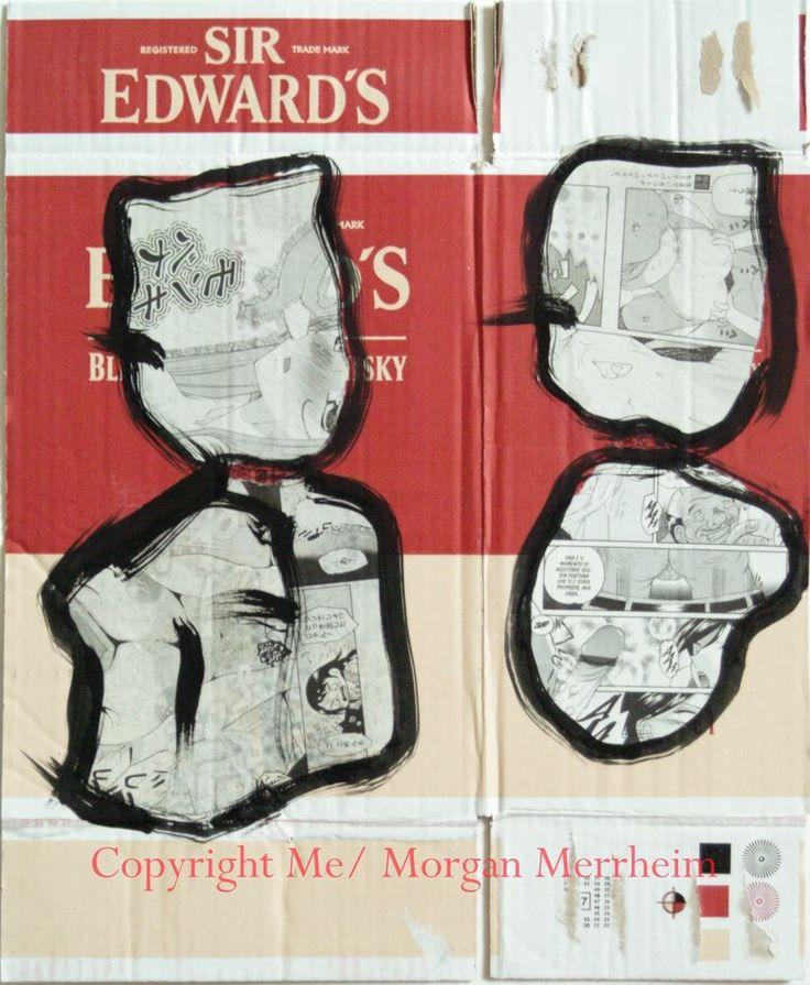 Tableau peinture sur carton merrheiM bonhomme noir Néo Expressionnisme 38x46cm #MorganMerrheimMe