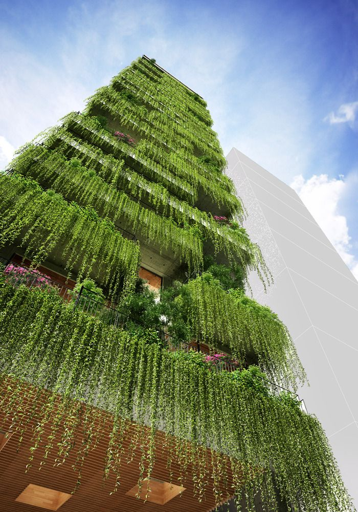 Gallery Of Vtn Architects Designs Hotel With Cascading Greenery For Narrow Site In Vietnam 6 Green Architecture Landscape Architecture Design Garden Architecture