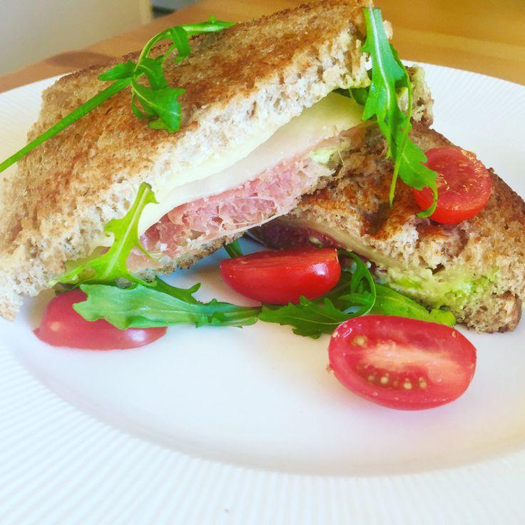 Grilled cheese with serrano ham, avocado, cream cheese ++ #sandwich#serranoham#creamcheese#friday